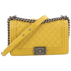 Chanel Boy Flap Bag Quilted Goatskin Old Medium