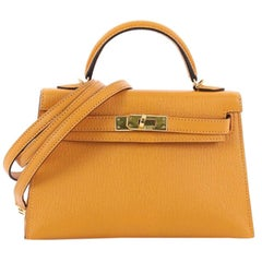 Hermes Kelly Mini II Handbag Moutarde Yellow Chevre Mysore With Gold Hardware 20
