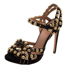 Alaia Black Studded Suede Ankle Strap Sandals Size 38