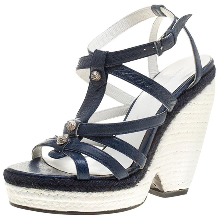84caa89ccc14 Balenciaga Blue White Leather Espadrille Wedge Sandals Size 38 For Sale