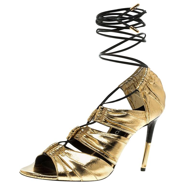 82c25195687 Tom Ford Metallic Gold Leather Stardust Lace Up Cage Sandals Size 37.5 For  Sale at 1stdibs