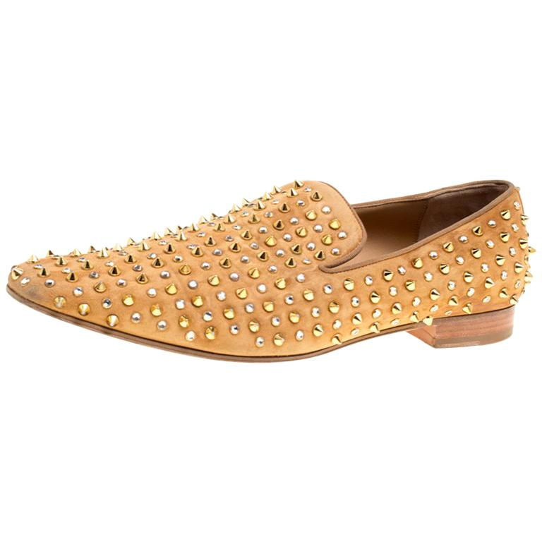 0a466a153fd Christian Louboutin Beige Suede Roller Boy Spiked Loafers Size 44.5