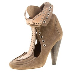 Isabel Marant Beige Suede Milla Eyelet Ankle Boots Size 38
