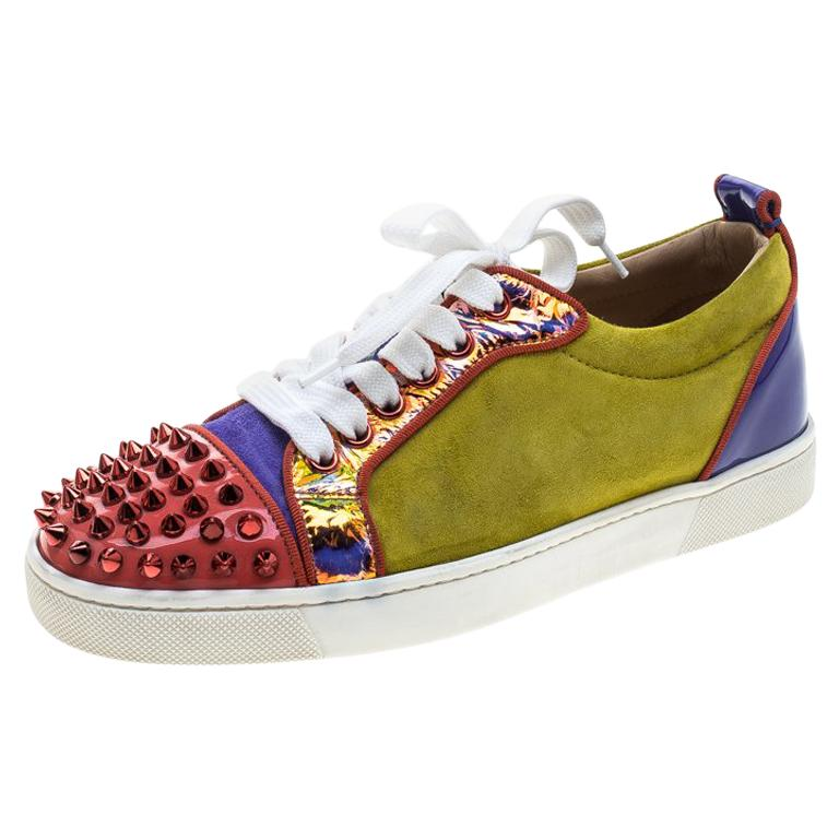e87b5b989bfd Christian Louboutin Suede and Patent Leather Louis Junior Spikes Sneakers  Size36 For Sale at 1stdibs
