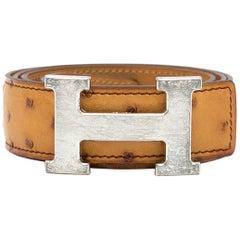 Hermes Caramel Ostrich leather belt