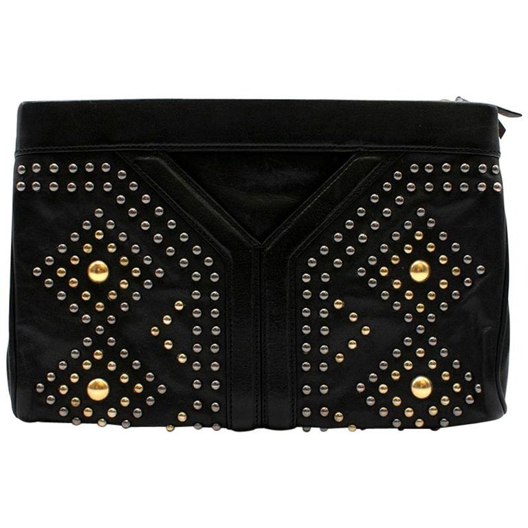 Yves Saint Laurent Y Rock leather clutch For Sale