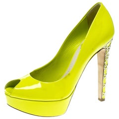 06e162f40 Dior Lime Green Patent Leather Peep Toe Cannage Heel Platform Pumps Size  37.5