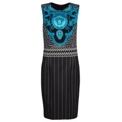 Versace Black and Blue Medusa Print Pinstriped Sleeveless Dress M