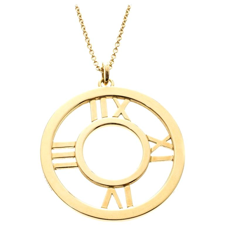 Tiffany & Co. Atlas 18k Yellow Gold Round Pendant Necklace For Sale