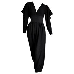 "HERMES ""New"" Black Cashmere and Silk Jumpsuit with Elasticated Waistband- Unworn"