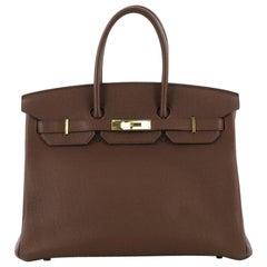 Hermes Birkin Handbag Brown Togo With Gold Hardware 35