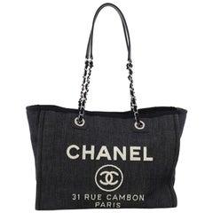 Chanel Deauville Chain Tote Denim Small