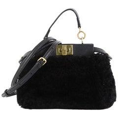 Fendi Peekaboo Handbag Shearling Micro