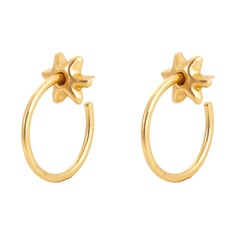 Giulia Barela 24 Karat Gold Hoop Stars Small Earrings