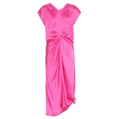 Helmut Lang Gathered Pink-Satin Dress US 8
