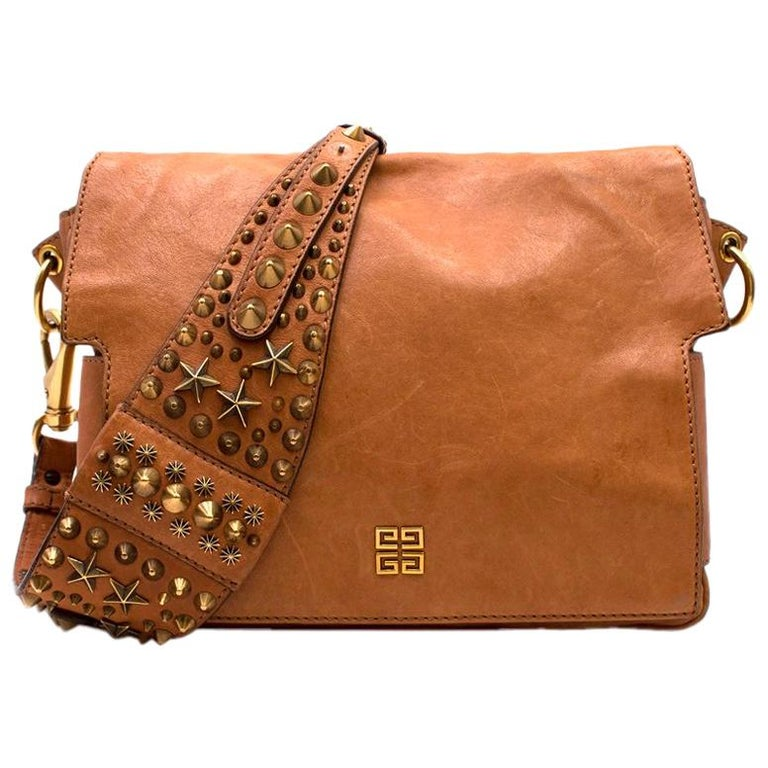 e0e2c9b9b6 Givenchy Tan Brown Leather Studded Strap Shoulder Bag For Sale at ...