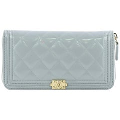 Chanel Boy Zip Around Wallet Quilted Patent Long