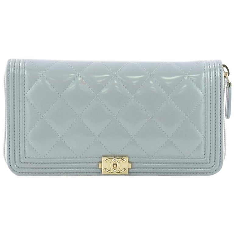 d70e3acb428a Chanel Boy Zip Around Wallet Quilted Patent Long at 1stdibs