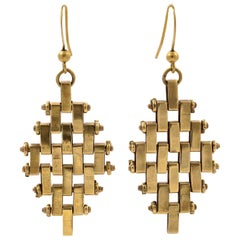 Jakob Bengel Art Deco Gold Tone Brickwork Link Pierced Drop Earrings