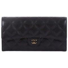Chanel CC Gusset Classic Flap Wallet Pixel Effect Quilted Calfskin Long