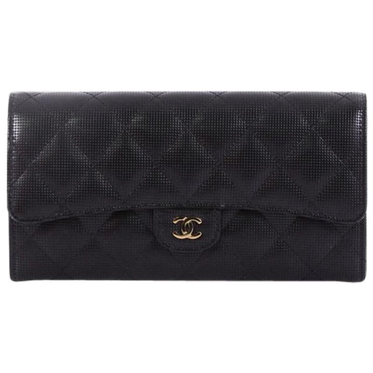 8d403eb4c19631 Chanel CC Gusset Classic Flap Wallet Pixel Effect Quilted Calfskin Long For  Sale