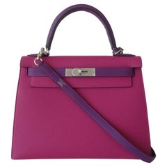 Hermès Kelly II Bag Sellier Togo Leather Phw Rose Pourpre Purple Horseshoe 28 cm
