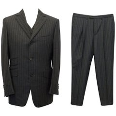 Dunhill Bespoke Charcoal Grey Pin Striped 3 Piece Suit SIZE 36/36R