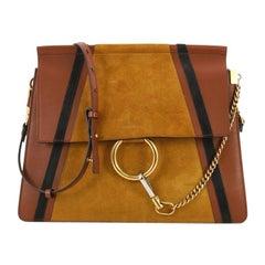 Chloe Faye Patchwork Shoulder Bag Suede and Leather Medium