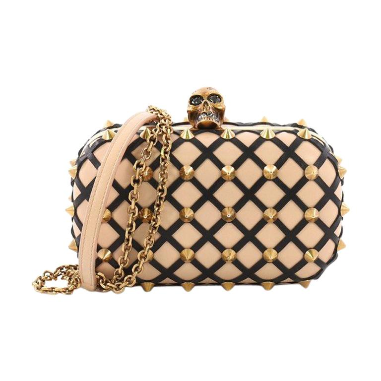 Alexander McQueen Skull Box Clutch Studded Leather Cut Leather Small For Sale