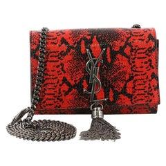 Saint Laurent Classic Monogram Tassel Crossbody Bag Snakeskin Embossed Leather S
