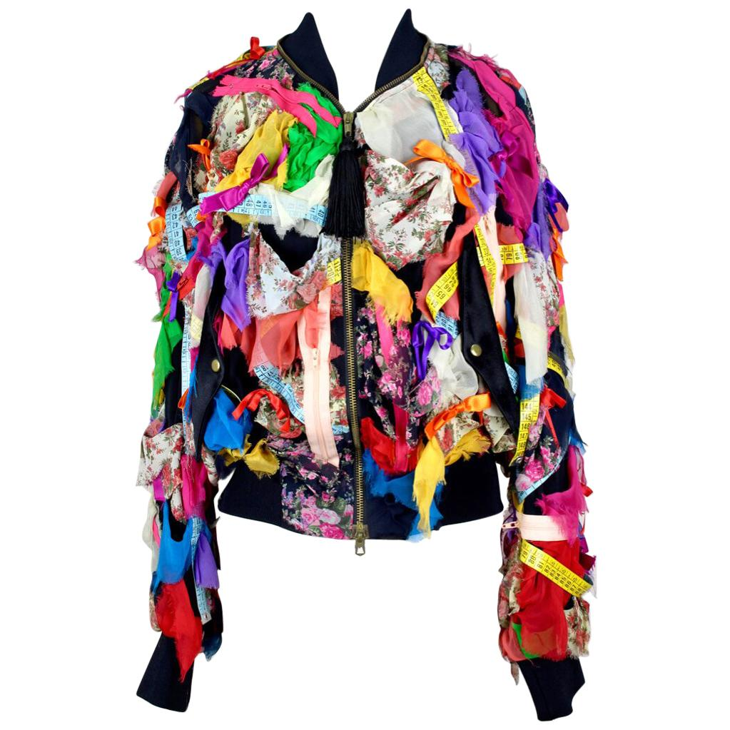 MOSCHINO COUTURE! Multi-Coloured Hand-Decorated Silk Bomber Jacket, S/S 1991