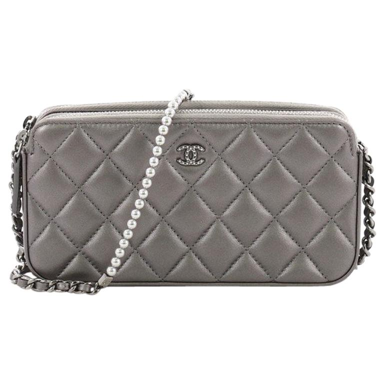 a43f6392dcf337 Chanel Double Zip Clutch with Pearl Chain Quilted Lambskin at 1stdibs