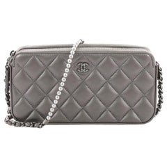 Chanel Double Zip Clutch with Pearl Chain Quilted Lambskin