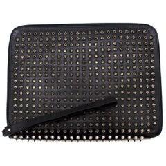 Christian Louboutin Black Cris Spiked Leather Ipad Case