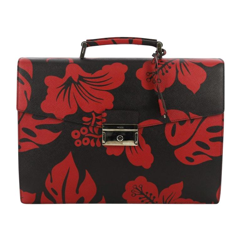be3243acf32040 Prada Key Lock Briefcase Printed Saffiano Leather Large For Sale at ...