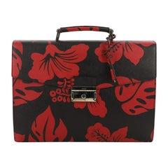 Prada Key Lock Briefcase Printed Saffiano Leather Large