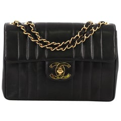 Chanel Vintage Classic Single Flap Bag Vertical Quilt Lambskin Jumbo