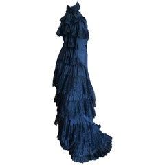 Roberto Cavalli for Just Cavalli Vintage Black Lace Layer Halter Dress