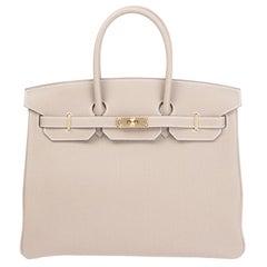 HERMES Etoupe grey Togo leather & Gold BIRKIN 35 Bag