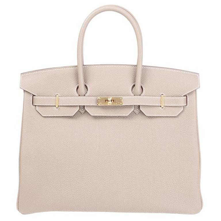 dfa6c47263 HERMES Etoupe grey Togo leather and Gold BIRKIN 35 Bag For Sale at ...