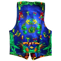 "Atelier Versace 1980's Velvet Men's  ""Nature"" Motif Vest with Jet Buttons XL 52"