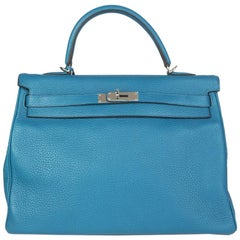 HERMES Bleu Izmir blue Clemence leather & Palladium KELLY 35 AMAZONE Bag