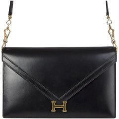 HERMES Black Veau Box leather & Gold LYDIE Shoulder Bag / Clutch