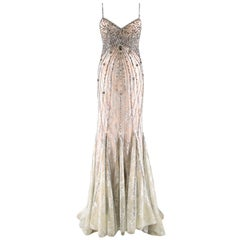Bespoke Crystal Embellished Lace Gown US 8