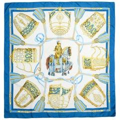 Hermes Blue/White/Gold Les Muserolles 90cm Silk Scarf