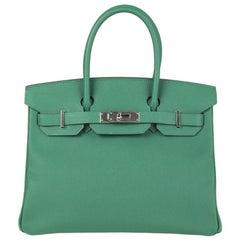 HERMES Vert Vertigo Epsom leather & Palladium BIRKIN 30 Bag