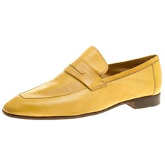 Berluti Yellow Leather Lorenzo Loafers Size 42.5