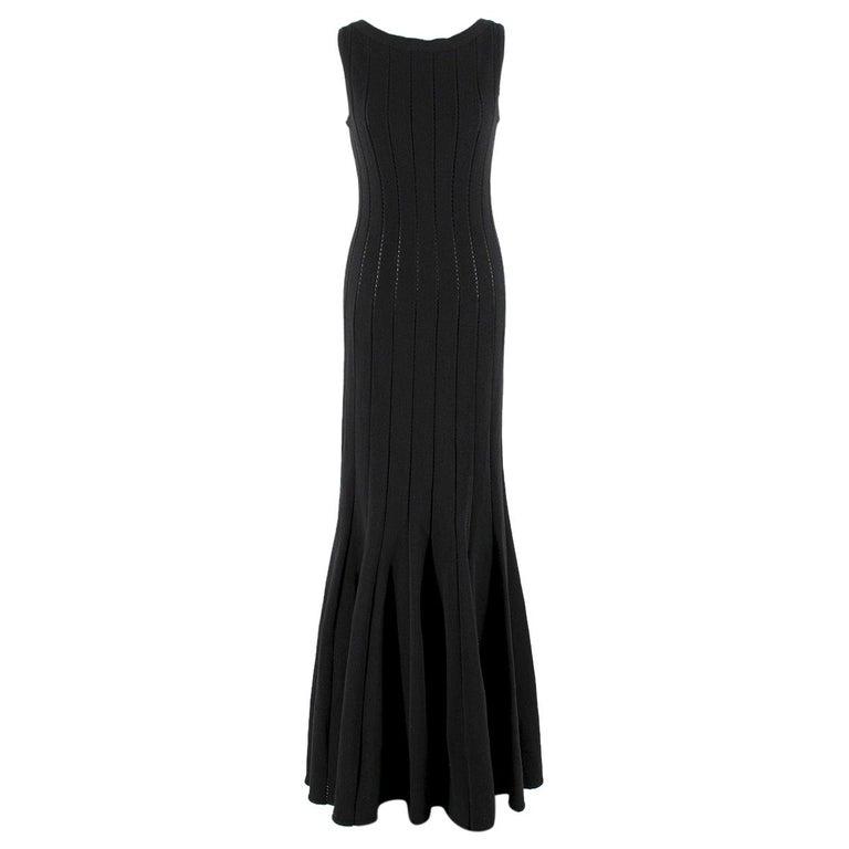 Alaia Black Maxi Fishtail Dress US 6 For Sale