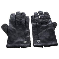 Hermes Black Leather Gloves 8 1/2