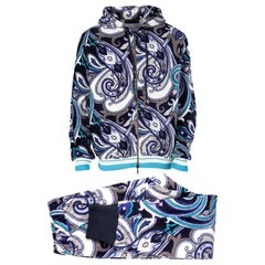 Etro Muticolor Printed Terrycloth Zip Front Sweatshirt and Jogger Pant Set L